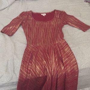XXS LuLaRoe Red and Gold Dress